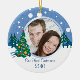 Snow Scene Tree Photo Ornament