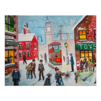Snow scene winter chimney sweeps painting G Bruce Poster