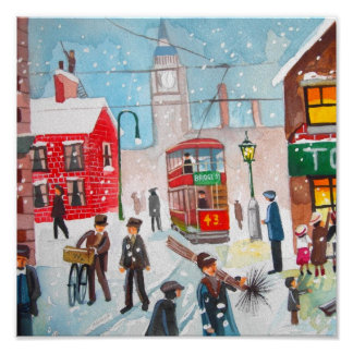 Snow scene winter chimney sweeps painting G Bruce Poster