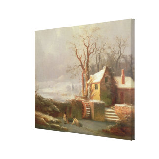 Snow Scene with Mill and Cottages Canvas Print