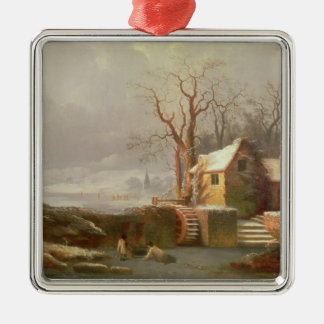 Snow Scene with Mill and Cottages Christmas Ornament
