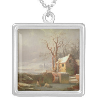 Snow Scene with Mill and Cottages Silver Plated Necklace