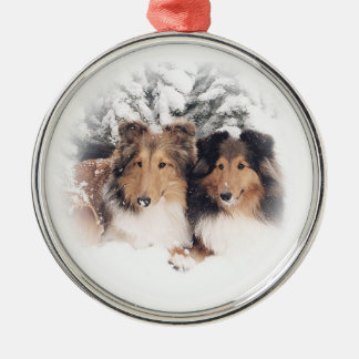 Snow Shelties Christmas Ornament