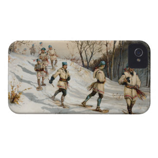 Snow-shoeing Winter Xmas scene Case-Mate iPhone 4 Cases