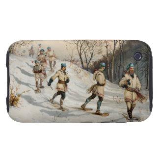 Snow-shoeing Winter Xmas scene iPhone 3 Tough Cover