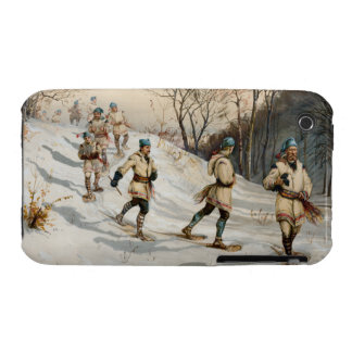 Snow-shoeing Winter Xmas scene iPhone 3 Cases