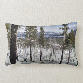Snow shoeing with dogs lumbar cushion