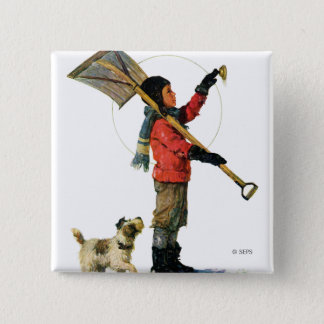 Snow Shoveler 15 Cm Square Badge