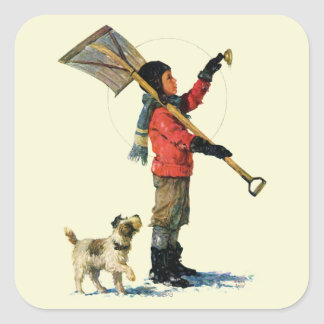 Snow Shoveler Square Sticker