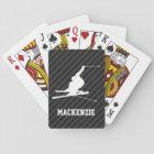Snow Ski; Black & Dark Grey Stripes Playing Cards