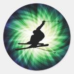 Snow Ski Gift Round Sticker