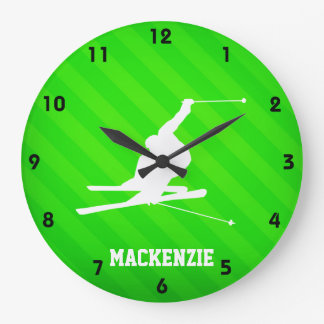 Snow Ski; Neon Green Stripes Large Clock
