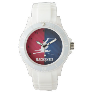 Snow Ski; Red, White, and Blue Wristwatch