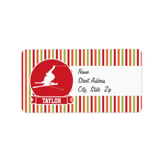 Snow Ski, Skiing, Red, Orange, Green Stripes Address Label