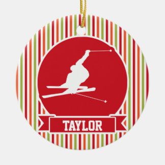 Snow Ski, Skiing, Red, Orange, Green Stripes Christmas Ornament