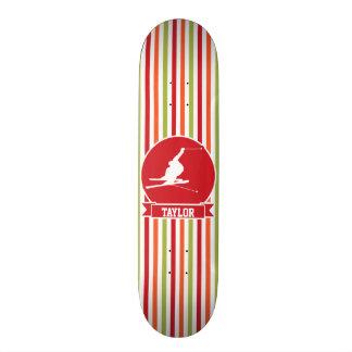 Snow Ski, Skiing, Red, Orange, Green Stripes Skate Board Decks