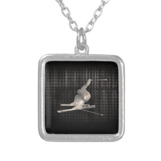 Snow Skiing; Cool Black Silver Plated Necklace