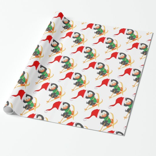 Snow Skiing Penguin Wrapping Paper