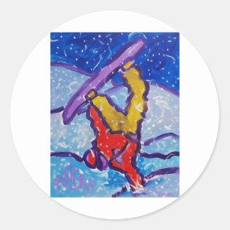 Snow Sports by Piliero Classic Round Sticker