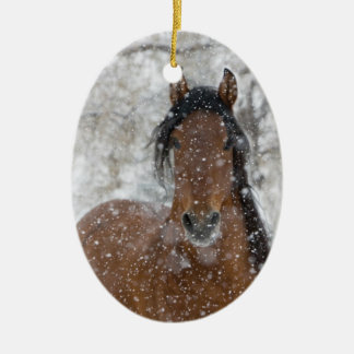 Snow Stallion Horse Holiday Ornament