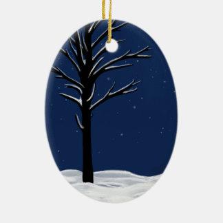 Snow & Stars Ceramic Oval Decoration