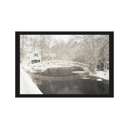 Snow Storm In Somesville Maine Stretched Canvas Prints