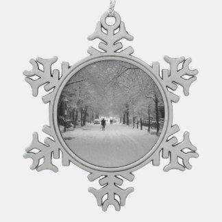 Snow Storm Snowflake Pewter Christmas Ornament