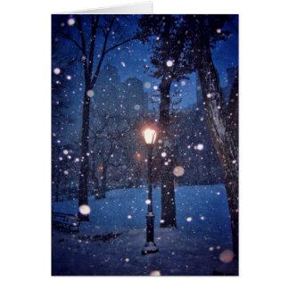 Snow Swirling Around A Streetlamp Greeting Card