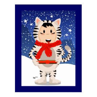 Snow Tiger Christmas Postcard
