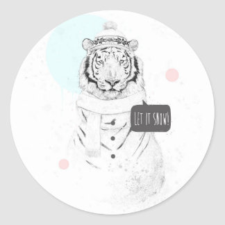 Snow tiger classic round sticker