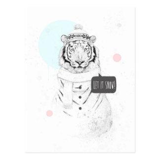 Snow tiger postcard