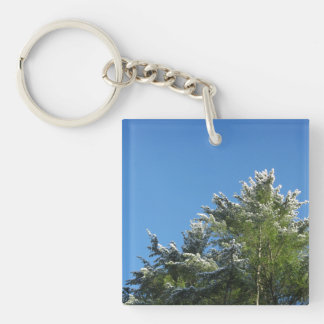 Snow-tipped Pine Tree on Blue Sky Double-Sided Square Acrylic Keychain