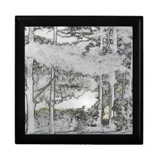 Snow Trees Art Tile-Top Jewerly Box Large Square Gift Box
