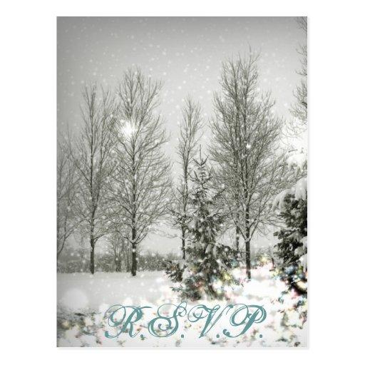 Snow Trees Sparkle Winter Wedding SaveTheDate Postcard
