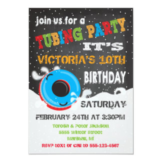 Snow Tubing Birthday Party Card