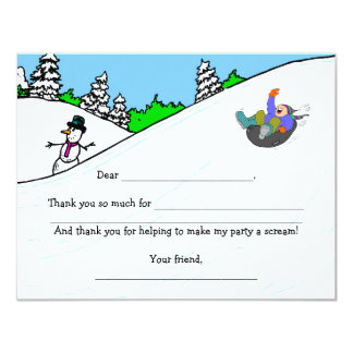 Snow Tubing Birthday Party thank you fill in note Card