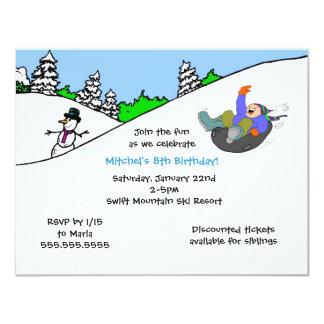 Snow tubing invitation Boy with light skin