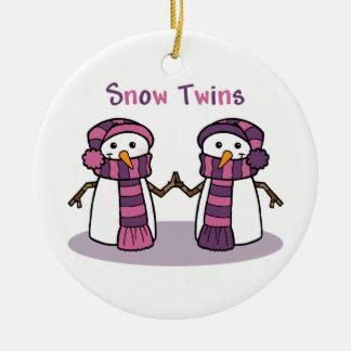 Snow Twins Girls Round Ceramic Decoration