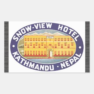 Snow-View Hotel Kathmandu Nepal, Vintage Rectangular Sticker