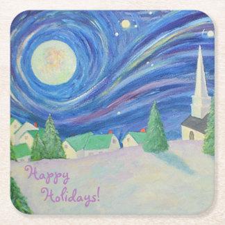 Snow Village Holiday Party Coaster