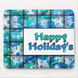 Snow Weave Happy Holiday Mouse Pad