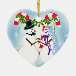 snow wedding save the date ceramic heart decoration