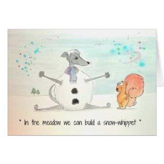 Snow-Whippet Christmas card