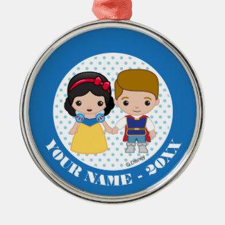 Snow White and Prince Charming Emoji Add Your Name Christmas Ornament