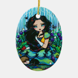 Snow White Forest Fairy Animal Art by Hannah Lynn Christmas Ornament