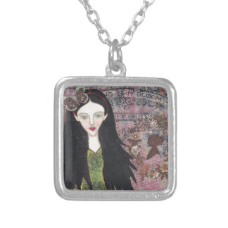 Snow White in the Forest Square Pendant Necklace