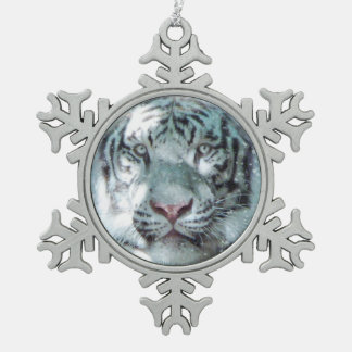 Snow White Tiger Snowflake Pewter Christmas Ornament