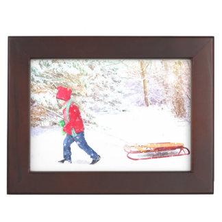 Snow winter sled boy christmas holidays keepsake box