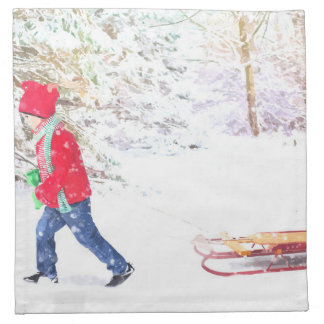 Snow winter sled boy christmas holidays napkin