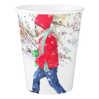 Snow winter sled boy christmas holidays paper cup